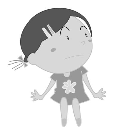 little girl sitting: Little girl sitting alone illustration Illustration
