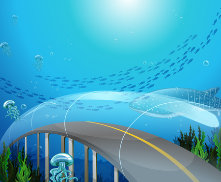 ocean plants: Glass tunnel under the ocean illustration