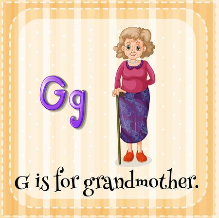 grandmother: Flashcard letter G is for grandmother illustration