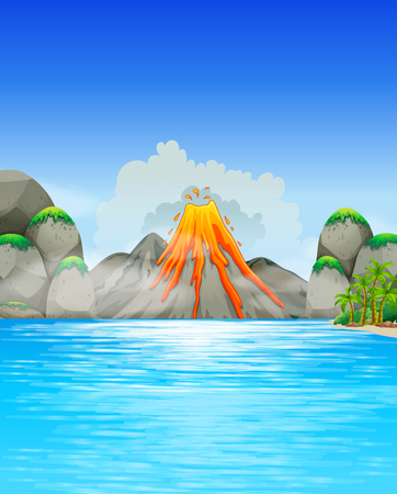 sea disaster: Volcano eruption by the lake illustration