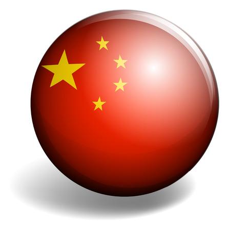 signal device: China flag on round badge illustration