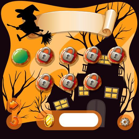 brujas caricatura: Salvapantallas de juego temática halloween ilustración Vectores