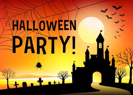 background house: Halloween festival with graveyard illustration