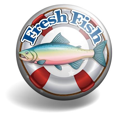 fresh fish: Badge of fresh fish  illustration