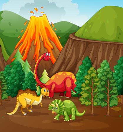 erupting volcano: Dinosaur living in the forest illustration