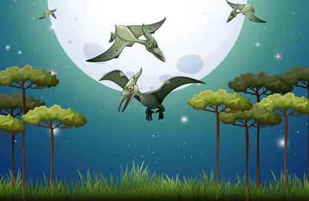 Dinosaurs flying on fullmoon night illustration