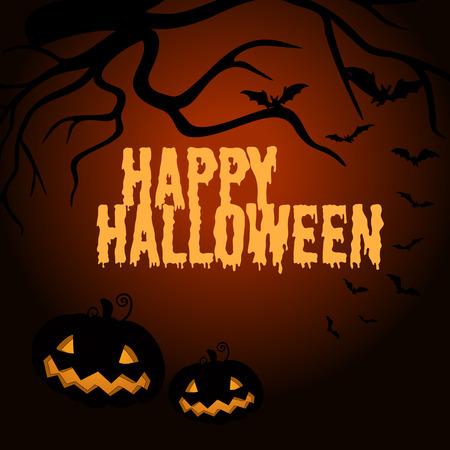 jack'o'lantern: Happy Halloween poster with jack-o-lantern illustration Illustration
