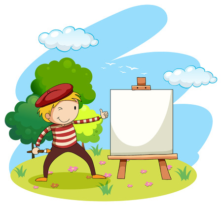 artists: Artist painting on canvas illustration