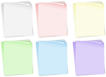 pile of documents: Papers in different colors illustration Illustration