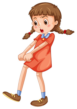 little girl dress: Angry girl in red fighting illustration