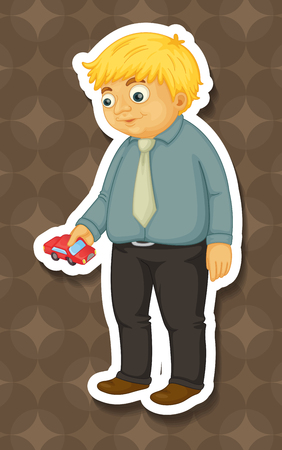 grown up: Fat man holding toy car illustration