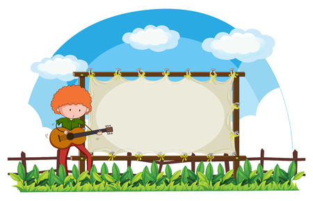 guy playing guitar: Man playing guitar in the park illustration