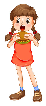 Little girl eating hamburger illustration