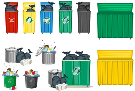 Different size of trashcan illustration  イラスト・ベクター素材