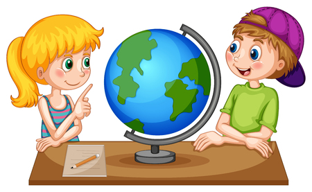 children art: Children looking at globe on the table illustration