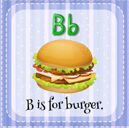 buns: Flashcard letter B is for burger illustration Illustration
