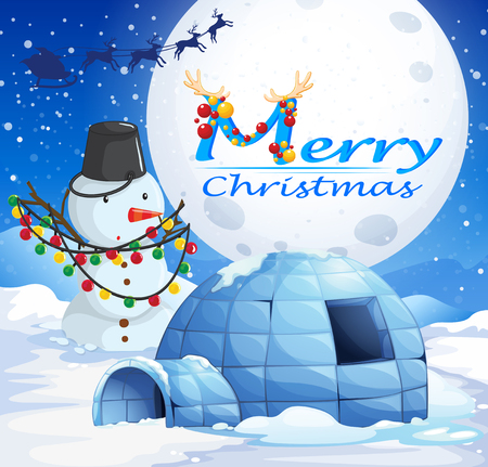 northpole: Christmas theme with snowman and igloo illustration