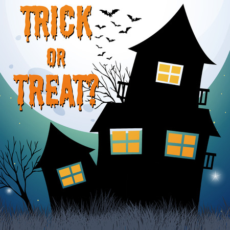 background house: Halloween theme with haunted house illustration
