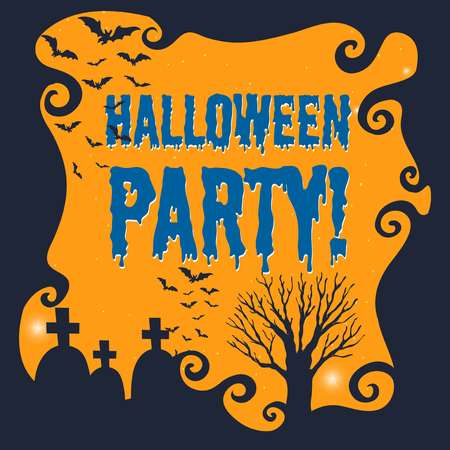 wordings: Poster of halloween party illustration