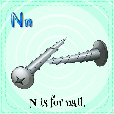 metal letter: Flashcard letter N is for nail illustration Illustration