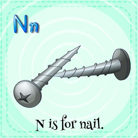 lettre alphabet: lettre de Flashcard N est pour ongles illustration