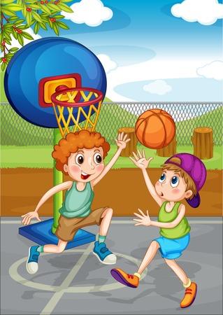slam dunk: Two boys playing basketball outside illustration