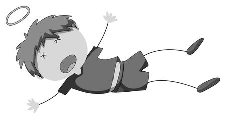 falling down: Little boy falling down illustration
