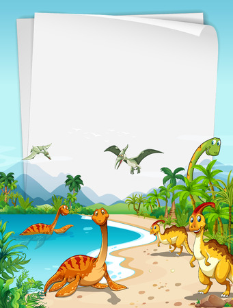 Dinosaurs at the ocean illustration Иллюстрация