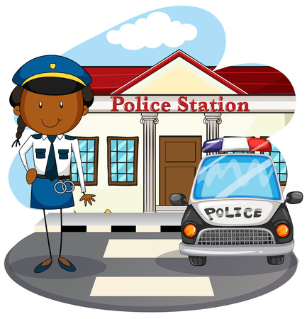 cartoon police officer: Police officer working at police station illustration Illustration