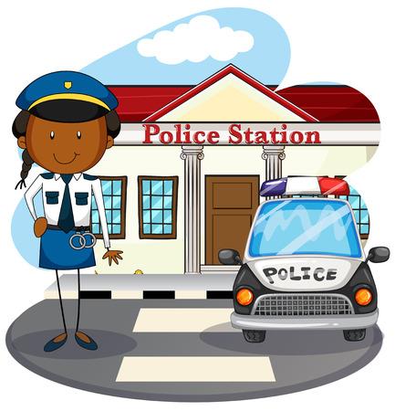 Police officer working at police station illustration Illustration