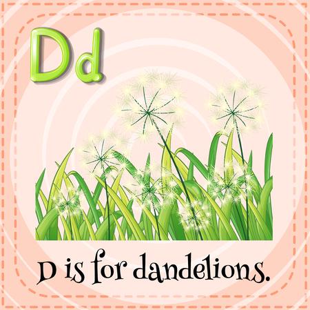 letter alphabet pictures: Flashcard letter D is for dandelions illustration