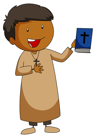 grown up: Priest holding a bible book illustration