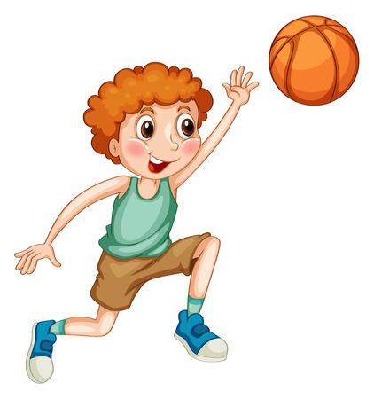alone: Boy playing basketball alone illustration Illustration