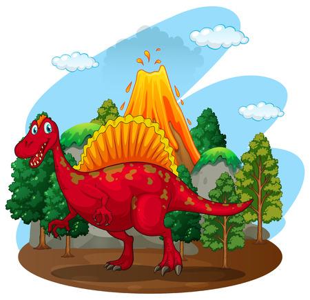 powerful volcano: Red dinosaur with volcano behind illustration Illustration