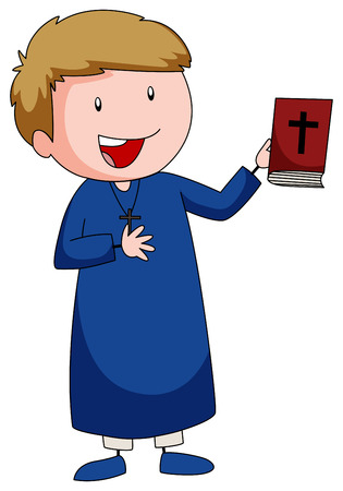 bible background: Priest carrying a bible book illustration Illustration
