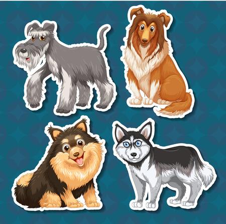 pet breeding: Different type of dogs illustration