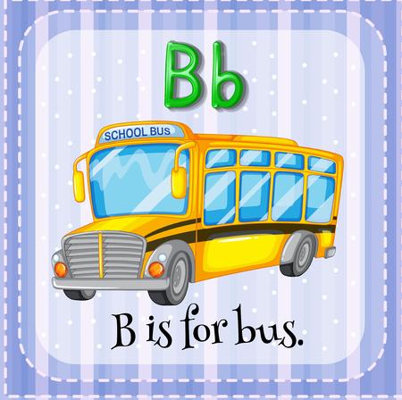 transporte escolar: Flashcard letra B es para la ilustración de autobuses