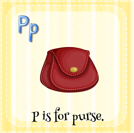 p illustration: Flashcard letter P is for purse illustration Illustration