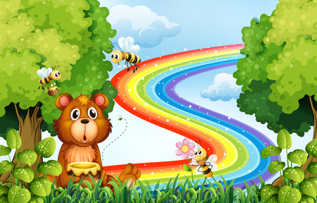 sweet grass: Animals in the park with rainbow background illustration