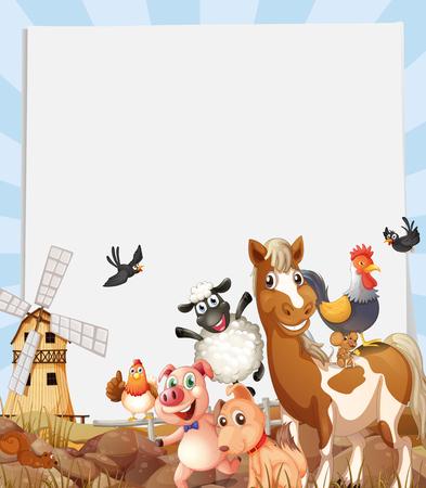 farmland: Farm animals living on farmland illustration