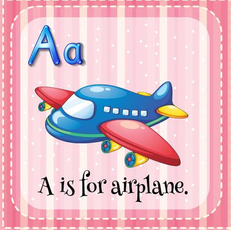 aeroplanes: Flashcard alphabet A is for airplane illustration Illustration