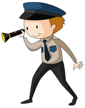 vigilante de seguridad: Servicio de seguridad holding ilustraci�n linterna