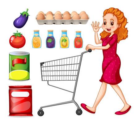grocery shopping: Lady doing grocery shopping illustration Illustration