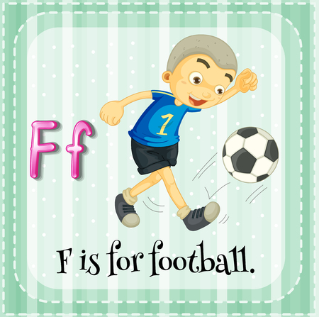 card player: Flashcard letter F is for football illustration