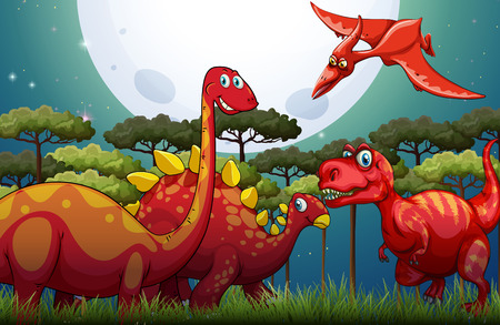 Red dinosuars under full moon in nature illustration