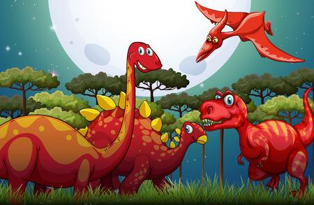 Wild Animals: Red dinosuars under full moon in nature illustration