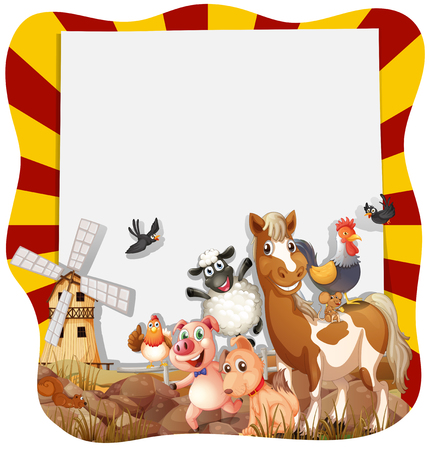 animal border: Farm animals around the frame illustration