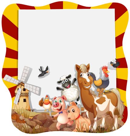 animales de granja: Los animales de granja en todo el marco de ilustraci�n Vectores
