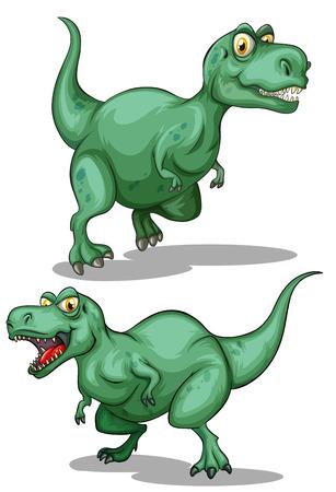 dinosaur clipart: Two green dinosaurs on white illustration Illustration