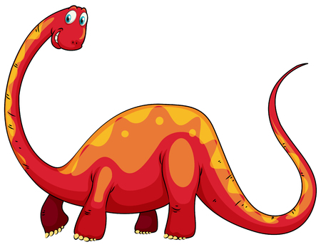 long neck: Red dinosaur with long neck illustration